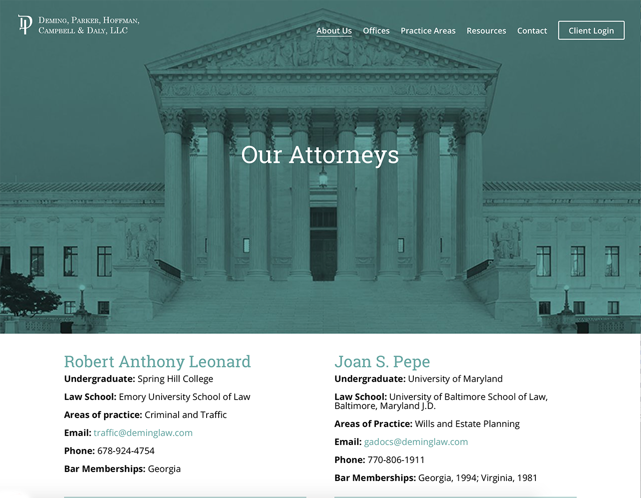 Portfolio Screenshot of Deminglaw Attorneys