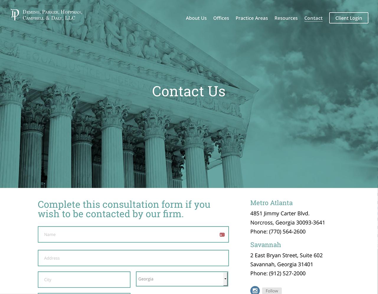 Portfolio Screenshot of Deminglaw Contact Us