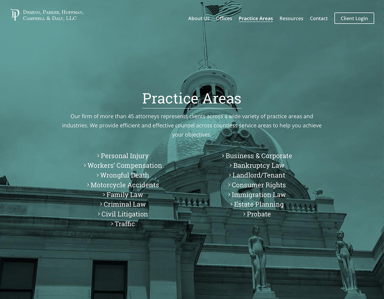 Portfolio Screenshot of Deminglaw Practice Area