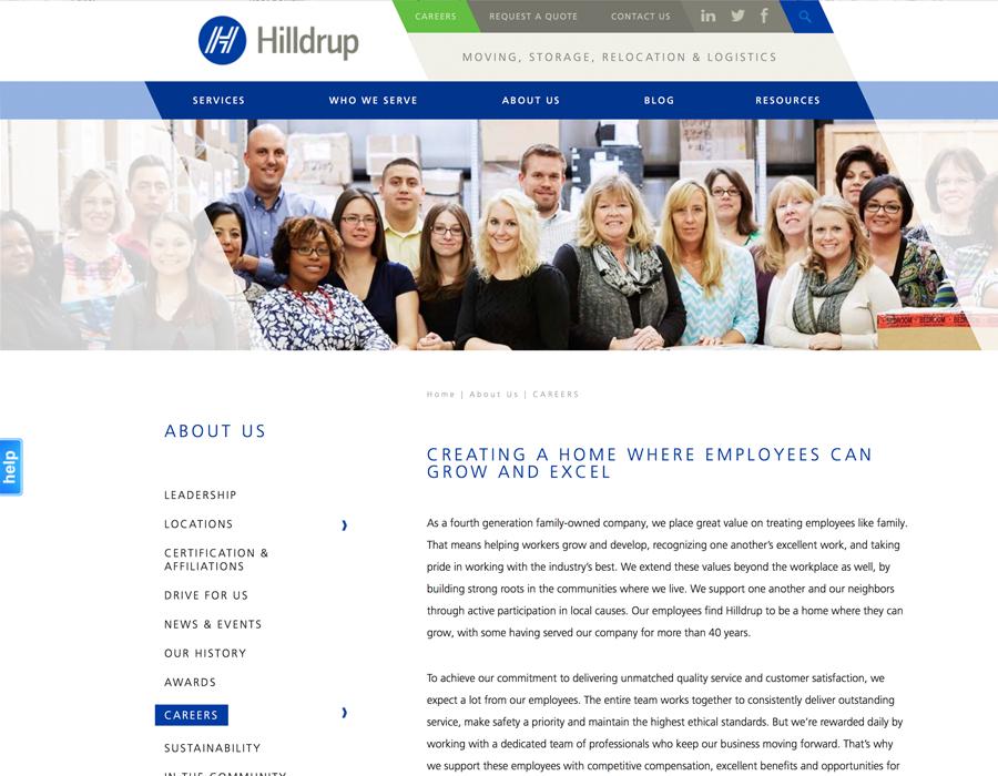 Portfolio Screenshot of Hilldrup Careers