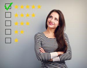 The Best Rating, Evaluation. Business Confident Happy Woman Voti